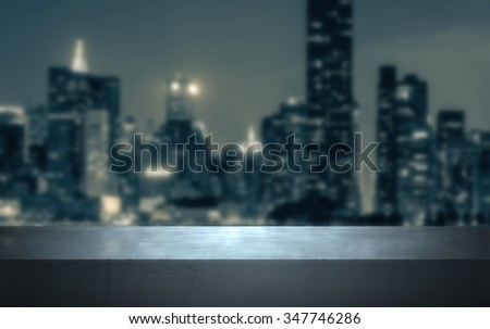 Blurred background with concrete stand.