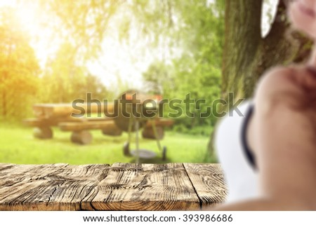 blurred background with young woman and  - stock photo
