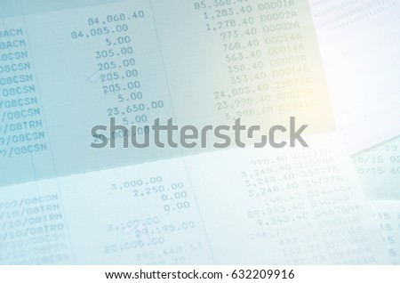 Blurred Bank account passbook passive income e-commerce shopping online with color effect