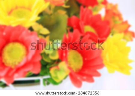 blurred beautiful vintage artificial flowers