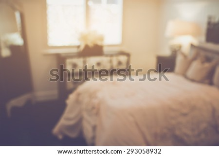 Blurred Bedroom applying Retro Instagram Style Filter - stock photo