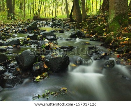 Blurred blue waves of moving mountain stream. Clear water blurred by long exposure.