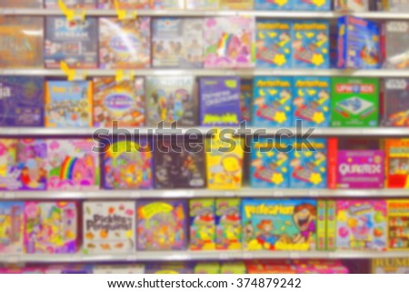 Blurred board games section at a toy store in Canada - stock photo