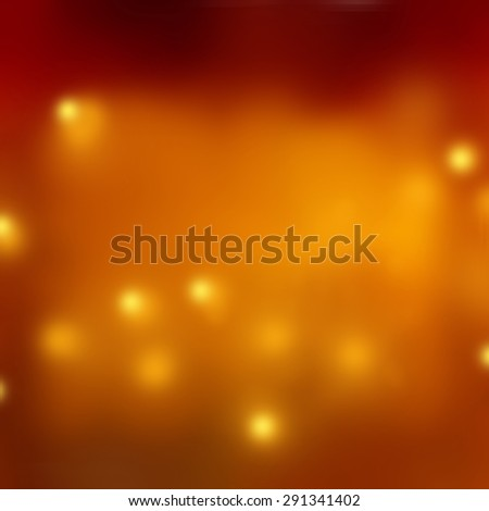 blurred bokeh background lights, rainy day background concept, orange copper background color, blurry smooth texture with gold lights - stock photo