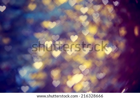 blurred bokeh background with hearts  - stock photo