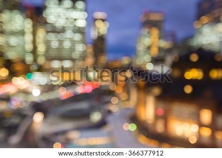 Blurred bokeh Tokyo city downtown lights at night, Japan - stock photo