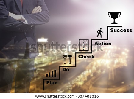 Blurred Business man success or teach working on marketing online or e learning by PD-CA plan do check action concept on over blur or blurred night city view background with corner light flare. - stock photo