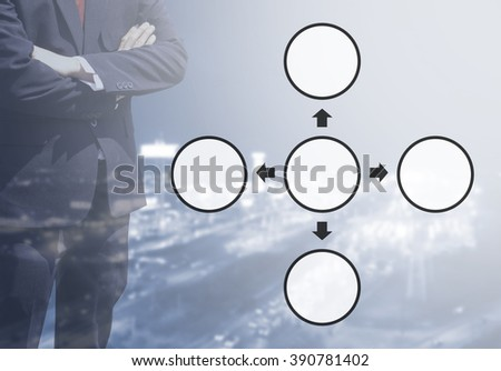 Blurred Business man with life or business Improvement cycle concept, core value cycle on blur or blurred night city view blue tone background with corner light flare.four cycle concept. - stock photo
