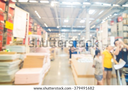 Blurred business people department store with bokeh background, Superstore home mart