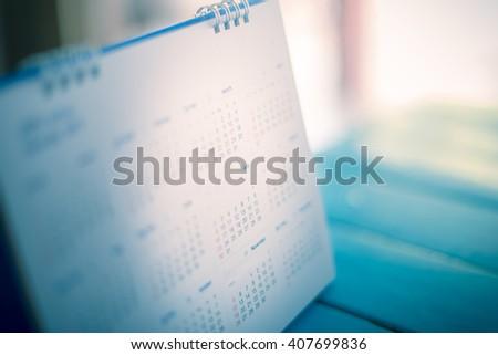 blurred calendar in film tone. - stock photo