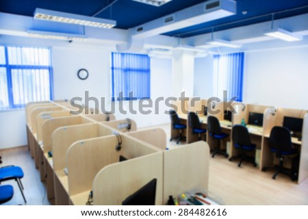 Blurred call center office, Empty call center.Corporate Office - stock photo
