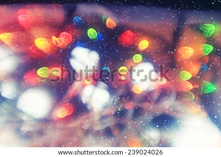 blurred Christmas background glare from lights Christmas lights blur - stock photo