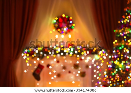 Blurred Christmas Room Lights Background, De Focused Xmas Tree Light - stock photo