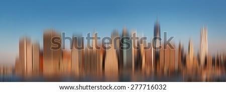 Blurred city background. Manhattan. Morning New York City skyline panorama - stock photo