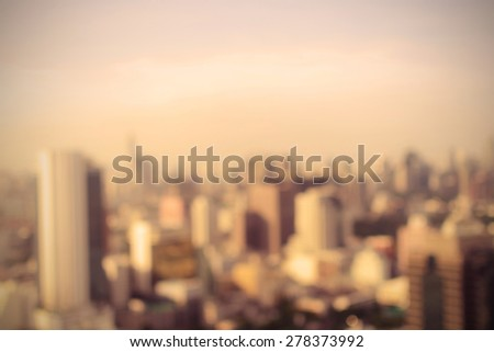 Blurred cityscape of Bangkok, Thailand. Vintage style - stock photo