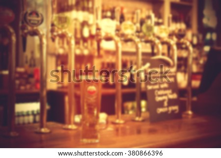 Blurred Classic bar counter - stock photo