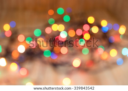blurred colored lights to decorate the Christmas  - stock photo