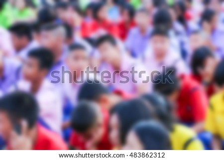 blurred colorful school children at field having education activities