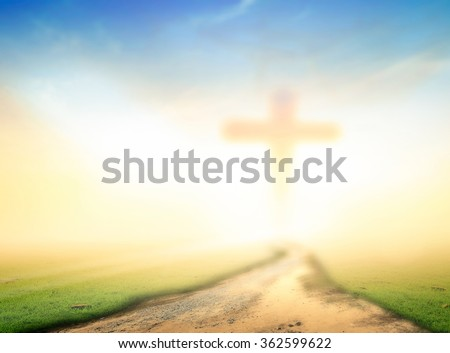 Blurred crown of thorn and the cross on a sunset background. Christmas Worship Forgiveness Mercy Humble Repentance Reconcile Adoration Glorify Thanksgiving Redeemer Trust Pentecost concept - stock photo
