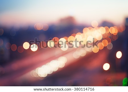 Blurred defocused colorful lights of traffic in the city