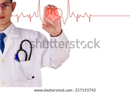 Blurred doctor holding  Heartbeats (focused on hand)
