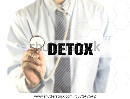 blurred doctor with word Detox