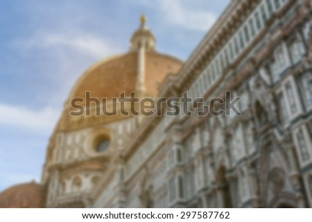 Blurred Duomo Basilica Cathedral Church in Florence Italy with Instagram Style Filter - stock photo