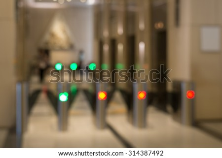 Blurred enter, exit way and Elevator background - stock photo