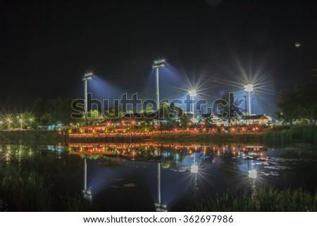 Blurred fire waterfront stadium - stock photo