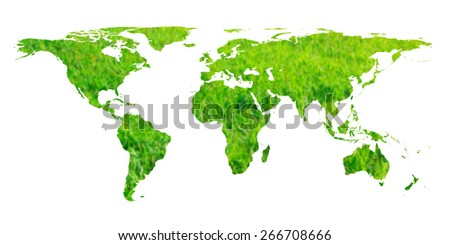 blurred green nature world map isolated on white backgrounds - stock photo