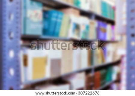 Blurred Horizontal blurred background for design library bookshelves - stock photo