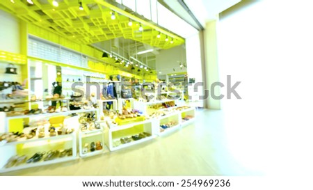 blurred image background with teen fashion store, 16:9 Ratio - stock photo
