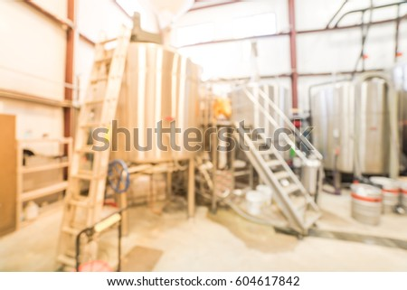 Blurred Image Modern Beer Plant (brewery) With Stainless Steel Brewing  Equipment Of Kettle,