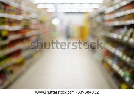 Blurred image of an aisle inside the supermarket