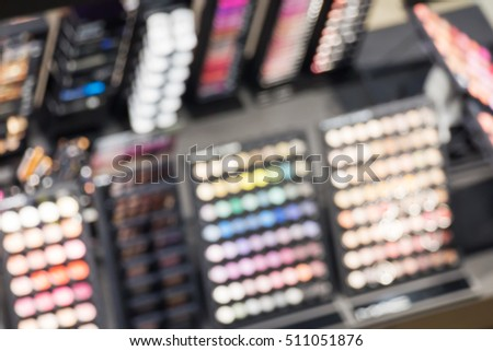 Blurred image of cosmetic shop abstract background
