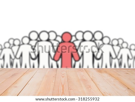 Blurred image of drawn people, wooden background - stock photo