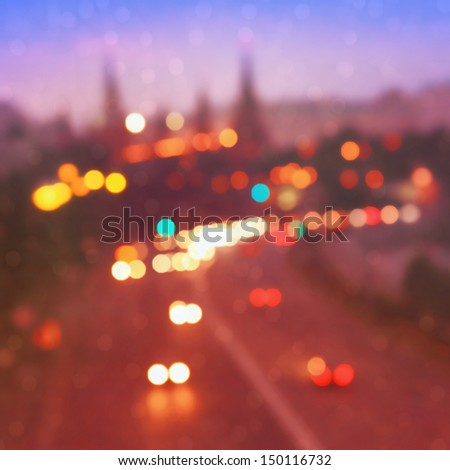 Blurred image of evening traffic in Moscow. - stock photo