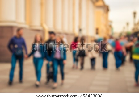 Blurred image of old street in St Petersburg, Russia.