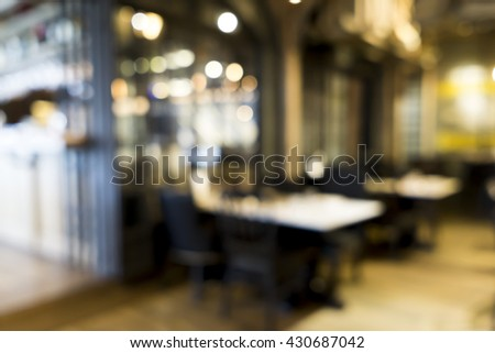 Blurred image of restaurant / coffee shop for backgrounds use - stock photo