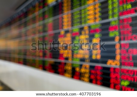 Blurred image of Stock market board for background use. - stock photo