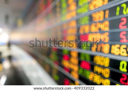 Blurred image of Stock market board for background use.