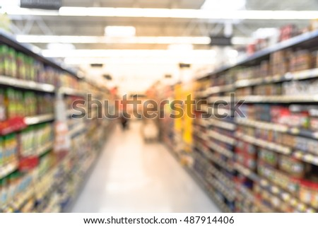 Blurred image of supermarket aisle and shelves. Wide perspective view of empty supermarket aisle, defocused blurry background with bokeh light in store. Business concept.