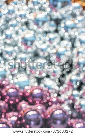 Blurred Image of Vintage Christmas Ball Ornament Over Elegant Grunge Christmas Light Bokeh & Crystal Background - stock photo