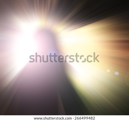 Blurred Jesus is risen on the tomb over over beautiful sunrise background. Good Friday, Holy Week, Saturday, Monday, Easter Sunday, He Is Risen, Morning concept. - stock photo