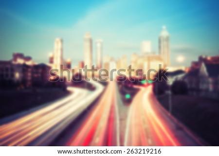 Blurred lights of Atlanta skyline, Georgia, USA - stock photo