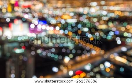 Blurred lights of Las Vegas skyline - stock photo