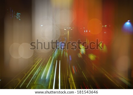 blurred lights on highway - stock photo