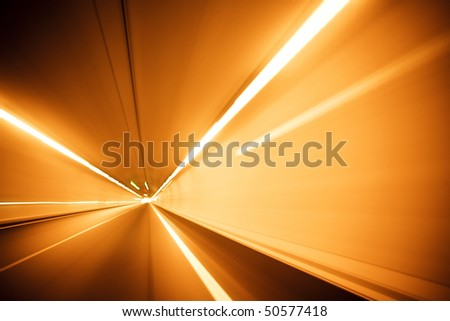 Blurred lights on long exposure picture. - stock photo