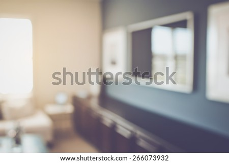 Blurred Living Room with Television and Reto Instagram Style Filter - stock photo