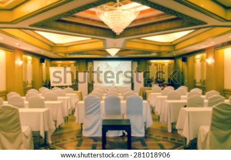 Blurred meeting rooms and preparation ,vintage style - stock photo